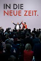 06 DEC 2019, BERLIN/GERMANY:<br /> Norbert Walter-Borjans (R), SPD, Minister a.D., Kandidat fur das Amt des Parteivorsitzenden, Saskia Esken (L), MdB, SPD, Kandidatin fuer das Amt der Parteivorsitzenden, nach ihren Bewerbungsreden und vor der Wahl der Parteivorsitzenden, SPD Bundesprateitag, CityCube<br /> IMAGE: 20191206-01-054<br /> KEYYWORDS: Party Congress, Parteitag, klatschen, applaudieren, Applaus