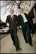 Houston, Texas, USA, 20060126: Former CEO of Enron, Jeffrey Skilling with his lawyer, attorney Daniel Petrocelli outside the Houston Federal Court building after a pre-trial hearing.<br /> <br /> Photo: Orjan F. Ellingvag/ Dagens Naringsliv/ Corbis