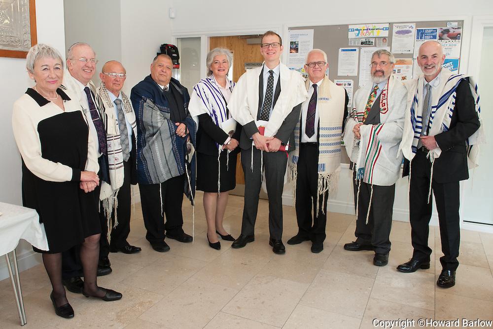 31-5-2015 MANCHESTER: Induction Service of Menorah Synagogue's RABBI FABIAN SBOROVSKY.  l-r: GITA CONN (past MenorahChair), RABBI REUVEN SILVERMAN (Rabbi, Manchester Reform Synagogue), RABBI NORMAN ZALUD (Rabbi, Sha'arei Shalom Synagogue), RABBI COLIN EIMER (Acting Senior Rabbi, Movement for Reform Judaism), RABBI SYBIL SHERIDAN (Chair of Reform Assembly of Rabbis), RABBI FABIAN SBOROVSKY (Rabbi, Menorah Synagogue), RABBI EDWARD VAN VOOLEN (Abraham Geiger College), RABBI MICHAEL HILTON (former Menorah Rabbi from 1987-1998 now at Kol Chai Synagogue), HOWARD BARLOW (Chair Menorah Synagogue).
