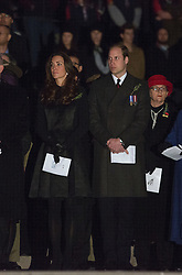 The Duke and Duchess of Cambridge attend the annual Anzac Day dawn service at the Australian War Memorial in Canberra on day 19 of their New Zealnad and Australian tour, Friday April 25, 2014 Picture by i-Images
