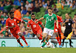 Ireland's Harry After in action against Oman's Mohsin Jouhar Bilal Al Khaldi- Mandatory by-line: Ken Sutton/JMP - 31/08/2016 - FOOTBALL - Aviva Stadium - Dublin,  - Republic of Ireland v Oman -