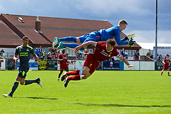 NUNEATON, ENGLAND - Sunday, July 30, 2017: Captain Matthew Virtue is tackled by PSV Eindhoven goalkeeper Yanick Van Osch during a pre-season friendly between Liverpool and PSV Eindhoven at the Liberty Way Stadium. (Pic by Paul Greenwood/Propaganda)