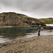 Tómas Guðmundsson at the pool Bryggjuhylur on the river Breiðdalsá, Iceland.
