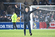 Wycombe Wanderers Manager Gareth Ainsworth celebrates with the fans during the EFL Sky Bet League 2 match between Wycombe Wanderers and Carlisle United at Adams Park, High Wycombe, England on 3 February 2018. Picture by Stephen Wright.