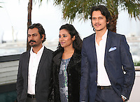 Actor Nawazuddin Siddiqui, actress Tannishtha Chatterjee, actor Vijay Verma at the Monsoon Shootout film photocall at the Cannes Film Festival 18th May 2013