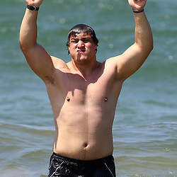 DURBAN, SOUTH AFRICA, December 10. 2015 - Coenie Oosthuizen during The Cell C Sharks Pre Season Beach South Beach training for the 2016 Super Rugby Season . (Photo by Steve Haag)<br /> images for social media must have consent from Steve Haag
