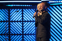 October 16, 2018 - Nashville, TN, U.S. - NASHVILLE, TN - OCTOBER 16: Brian and Jenn Johnson during the 49th Annual Dove Awards on October 16, 2018, at Allen Arena in Nashville, TN. (Photo by Jamie Gilliam/Icon Sportswire) (Credit Image: © Jamie Gilliam/Icon SMI via ZUMA Press)