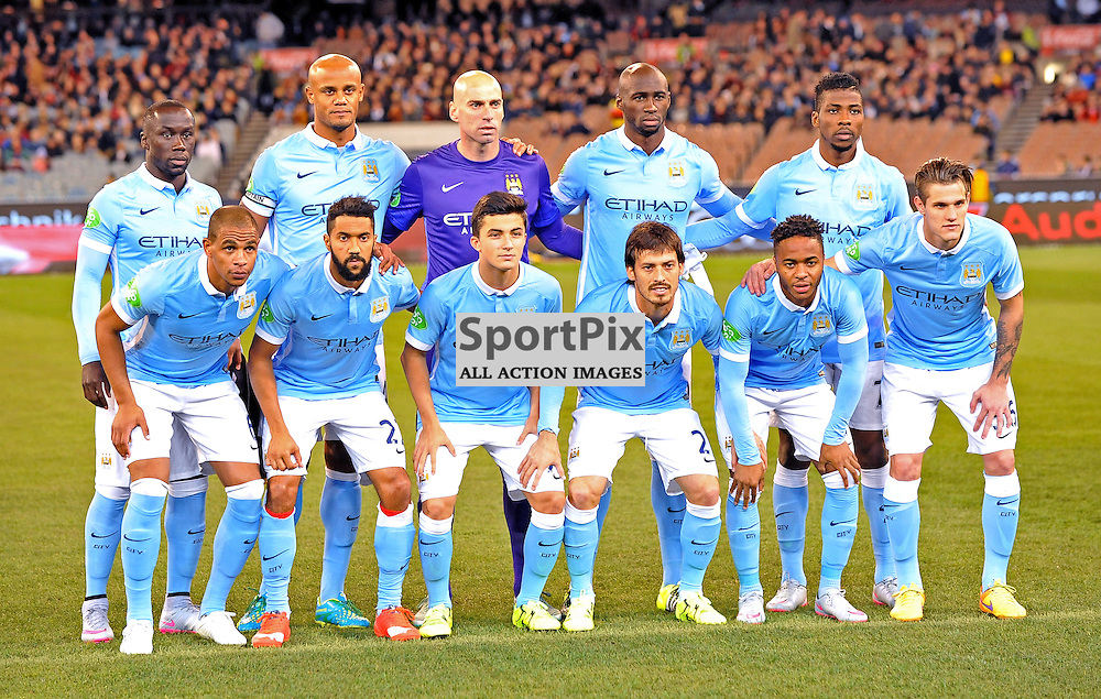 The Manchester City team line up.<br /> The International Champions Cup.<br /> AS Roma V Manchester City, held at the MCG (Melbourne Cricket Ground), Melbourne, Victoria, Australia, on the 21st July 2015.<br /> Wayne Neal | SportPix.org.uk