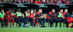 ADELAIDE, AUSTRALIA - Monday, July 20, 2015: Liverpool's substitute benchDivock Origi, Mamadou Sakho, Kolo Toure, Andre Wisdom, James Milner, goalkeeper Adam Bogdan, Rickie Lambert in action against Adelaide United during a preseason friendly match at the Adelaide Oval on day eight of the club's preseason tour. (Pic by David Rawcliffe/Propaganda)