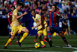 November 5, 2017 - Valencia, Valencia, Spain - Enes Unal (R) of Levante UD competes for the ball with Muniesa (C) and Bernardo of Girona FC during the La Liga match between Levante UD and Girona FC at Ciutat de Valencia stadium on November 5, 2017 in Valencia, Spain  (Credit Image: © David Aliaga/NurPhoto via ZUMA Press)