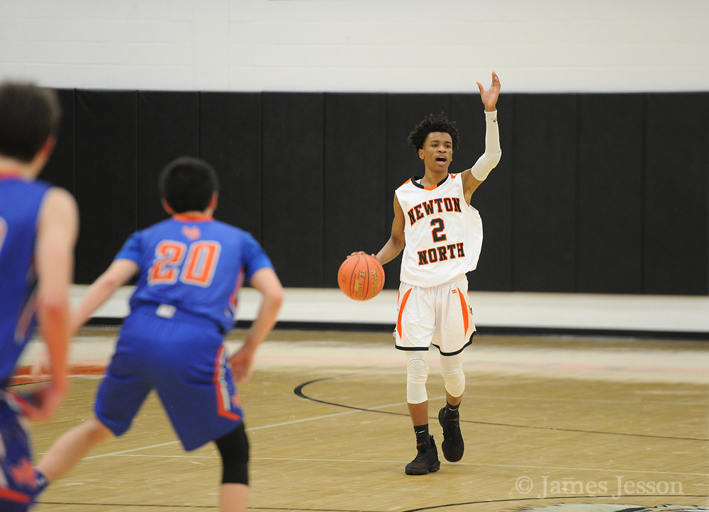Newton North junior Tyson Duncan calls out an offensive play during the game against Newton South at Newton North, Dec. 27, 2018.   [Wicked Local Photo/James Jesson]