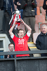 Edinburgh City crowned champions with Stewart Regan will be handing over the trophy to Edinburgh City&rsquo;s Douglas Gair. <br /> Edinburgh City 0 v 0 Gretna FC2008, Scottish Sun Lowland League game played at Meadowbank Stadium, 28/3/2015.