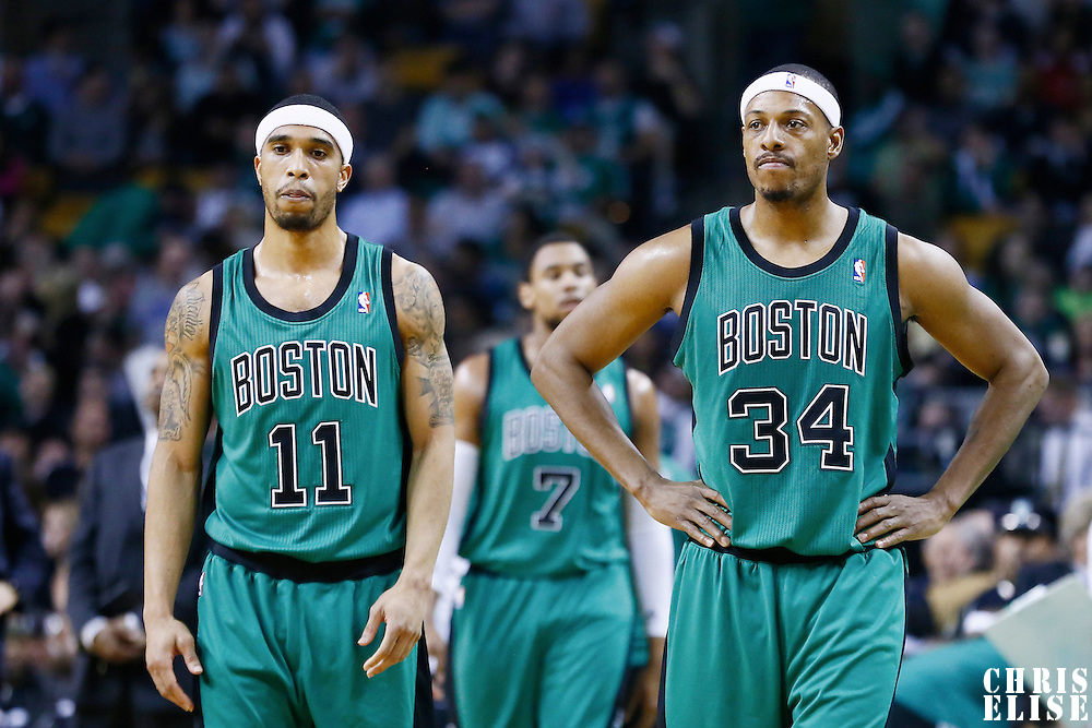 23 November 2012: Boston Celtics shooting guard Courtney Lee (11) is seen next to Boston Celtics small forward Paul Pierce (34) during the Boston Celtics 108-100 victory over the Oklahoma City Thunder at the TD Garden, Boston, Massachusetts, USA.