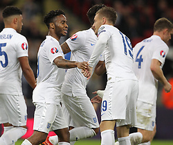 Raheem Sterling ( L ) of England celebrates with Jamie Vardy after he scores to make it 2-0 - Mandatory byline: Paul Terry/JMP - 07966 386802 - 09/10/2015 - FOOTBALL - Wembley Stadium - London, England - England v Estonia - European Championship Qualifying - Group E