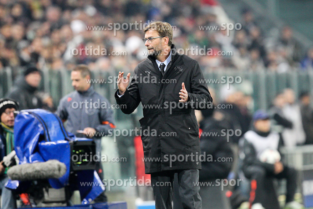 24.02.2015, Veltins Arena, Turin, ITA, UEFA CL, Juventus Turin vs Borussia Dortmund, Achtelfinale, Hinspiel, im Bild Chef-Trainer Juergen Klopp (Borussia Dortmund) // during the UEFA Champions League Round of 16, 1st Leg match between between Juventus Turin and Borussia Dortmund at the Veltins Arena in Turin, Italy on 2015/02/24. EXPA Pictures &copy; 2015, PhotoCredit: EXPA/ Eibner-Pressefoto/ Kolbert<br /> <br /> *****ATTENTION - OUT of GER*****