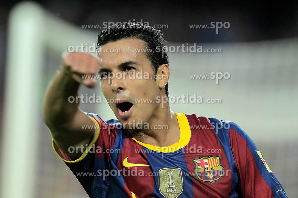 21.08.2010, Stadion Camp Nou, Barcelona, ESP, Supercup, FC Barcelona vs FC Sevilla, im Bild FC Barcelona's Pedro Rodriguez celebrates goal during SuperCup of Spain Final match. EXPA Pictures © 2010, PhotoCredit: EXPA/ Alterphotos/ Acero +++++ ATTENTION - OUT OF SPAIN / ESP +++++ / SPORTIDA PHOTO AGENCY