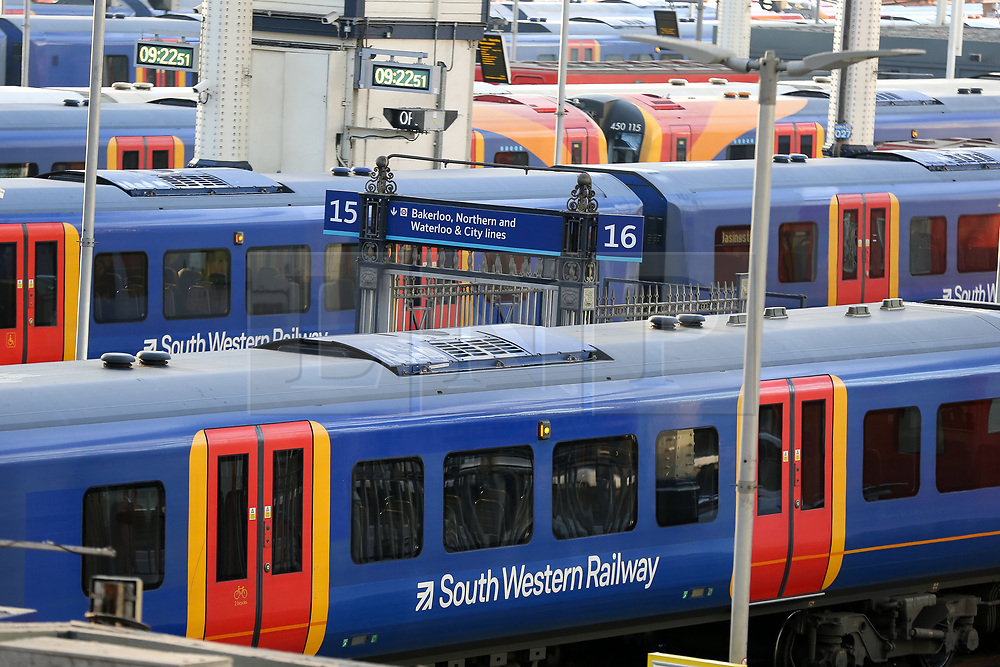 © Licensed to London News Pictures. 02/12/2019. London, UK. South Western trains at Waterloo Station on the first day of 27 days of RMT (National Union of Rail, Maritime and Transport Workers) strike lasting until New Year's Day. Union members of South Western Railway start a series of industrial action in the long-running dispute over guards on trains. Photo credit: Dinendra Haria/LNP