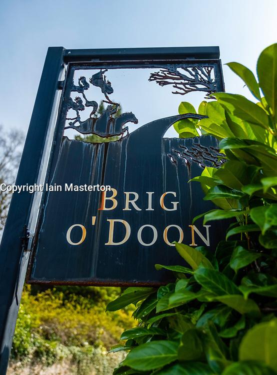 View of sign at Brig O Doon in Alloway, Ayrshire, Scotland, UK.