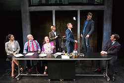 "© Licensed to London News Pictures. 16/04/2015. London, England. L-R: Laura Smithers, Jim Bywater, Clare Higgins, John Atterbury, Greg Hicks, Ryan Wichert and Peter Bourke. Arcola Theatre presents the World Premiere of the Fleet Street comedy ""Clarion"" by Mark Jagasia. The play is directed by Mehmet Ergen with Greg Hicks as power-crazed editor Morris Honeyspoon and Clare Higgins as washed-up journalist Verity Stokes. ""Clarion"" runs at the Arcola from 15 April to 16 May 2015. Photo credit: Bettina Strenske/LNP"