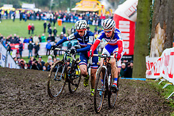 Pauline Ferrand Prevot (FRA) & Lucie Chainel-Lefevre (FRA), Women, Cyclo-cross World Cup Hoogerheide, The Netherlands, 25 January 2015, Photo by Thomas van Bracht / PelotonPhotos.com