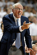 FAYETTEVILLE, AR - NOVEMBER 30:  Head Coach Jim Boeheim of the Syracuse Orangemen reacts to a call during a game against the Arkansas Razorbacks at Bud Walton Arena on November 30, 2012 in Fayetteville, Arkansas.  The Orangemen defeated the Razorbacks 91-82.  (Photo by Wesley Hitt/Getty Images) *** Local Caption *** Jim Boeheim