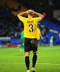 A disappointed Bristol Rovers' Lee Brown - Photo mandatory by-line: Neil Brookman/JMP - Mobile: 07966 386802 - 08/11/2014 - SPORT - Football - Birkenhead - Prenton Park - Tranmere Rovers v Bristol Rovers - FA Cup - Round One