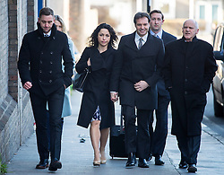 © Licensed to London News Pictures. 07/03/2016. Croydon, UK.  Former Chelsea team doctor EVA CARNEIRO (third left) arrives at Croydon Employment Tribunal in south London with her husband  JASON DE CARTERET (third right), where a private hearing is due to take place to discuss her constructive dismissal case against Chelsea FC.  Carneiro left Chelsea Football Club following an on pitch row with former manager Jose Mourinho in August 2015 . Photo credit: Ben Cawthra/LNP