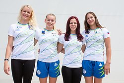 Adela Sajn, Teja Belak, Tjasa Kyseleff and Lucija Hribar at press conference before European Championship 2018 Glasgow, on July 26, 2018 in Gimnasticna dvorana, Ljubljana, Slovenia. Photo by Matic Klansek Velej / Sportida