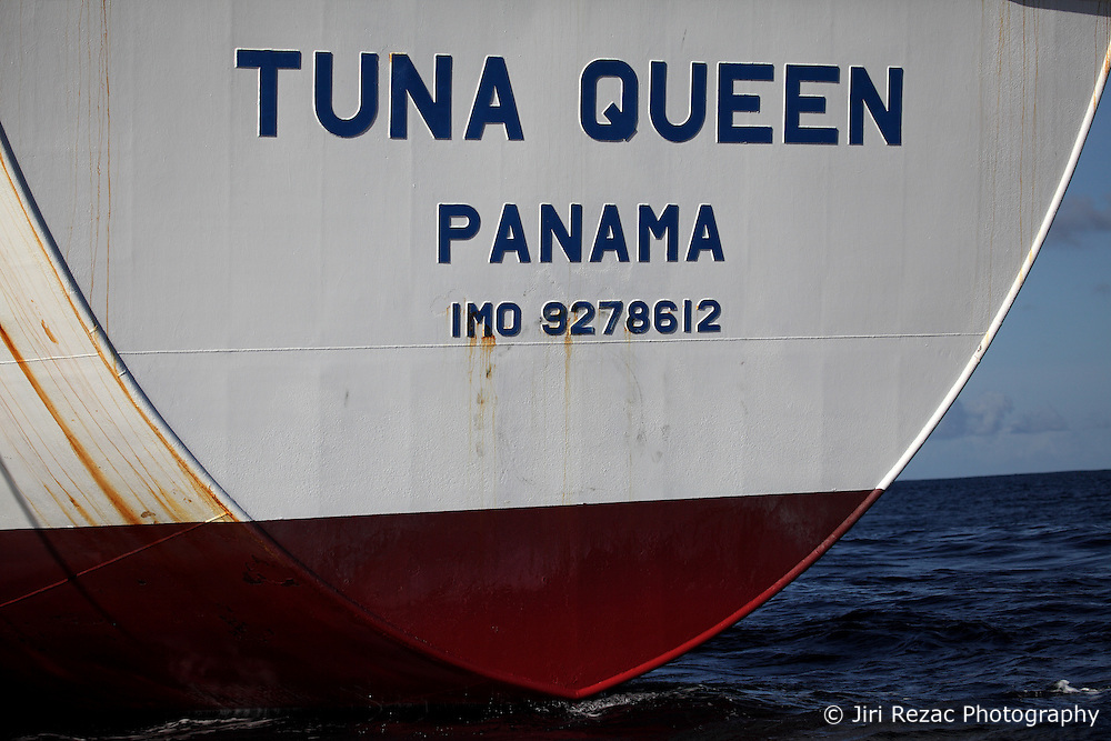 INDIAN OCEAN 25APR13 - Detail of the Tuna Queen reefer vessel, registered in Panama.<br /> <br /> <br /> <br /> The Greenpeace ship Esperanza is on patrol in the Indian Ocean documenting fishing activities.<br /> <br /> <br /> <br /> jre/Photo by Jiri Rezac / Greenpeace