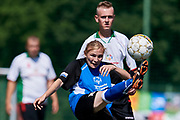 Chorzow, Poland - 2018 June 10: Special Olympics Podlaskie (white) v Special Olympics Swietokrzyskie (blue) while soccer match during National Special Olympics Games 2018 at Slaski Stadium on June 10, 2018 in Chorzow, Poland.<br /> <br /> Adam Nurkiewicz declares that he has no rights to the image of people at the photographs of his authorship.<br /> <br /> Picture also available in RAW (NEF) or TIFF format on special request.<br /> <br /> Any editorial, commercial or promotional use requires written permission from the author of image.<br /> <br /> Image can be used in the press when the method of use and the signature does not hurt people on the picture.<br /> <br /> Mandatory credit:<br /> Photo by &copy; Adam Nurkiewicz / Mediasport
