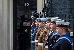 © Licensed to London News Pictures. 23/05/2018. London, UK. Members of the Armed Forces stand guard outside 10 Downing Street as part of the RAF100 Centenary celebrations. Photo credit: Rob Pinney/LNP