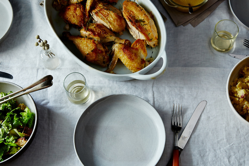 Super Quick Roast Chicken with Garlic and White wine gravy