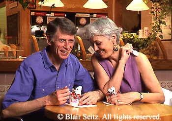Active Aging Senior Citizens, Retired, Activities, Elderly Couple, Food Court, Eating Yogurt, Ice Cream