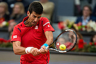 Andy Murray Novak Djokovic during the final of the Madrid Open at Manzanares Park Tennis Centre, Madrid<br /> Picture by EXPA Pictures/Focus Images Ltd 07814482222<br /> 08/05/2016<br /> ***UK &amp; IRELAND ONLY***<br /> EXPA-ESP-160509-0114.jpg
