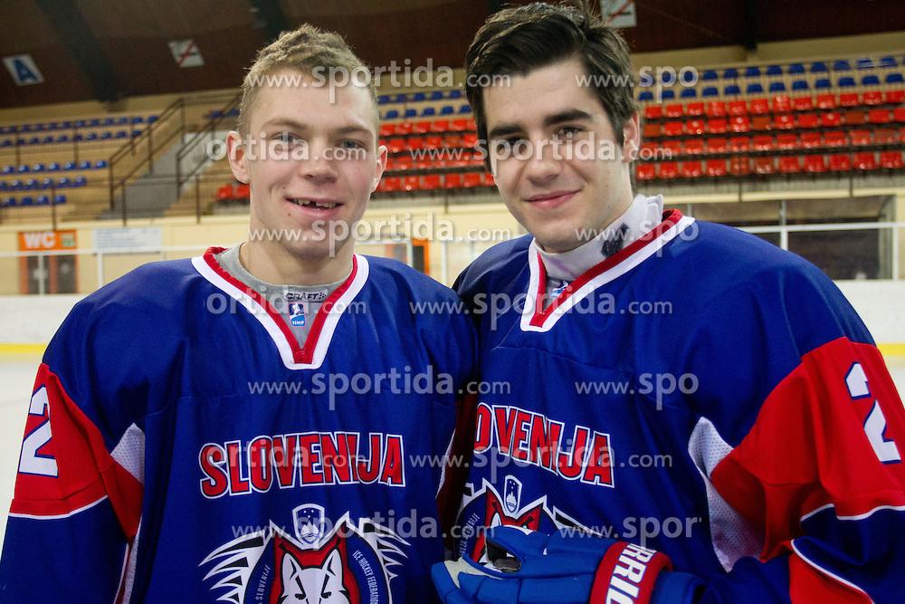 Luka Logar and Jurij Repe during Practice session of Slovenian U20 ice-hockey team, on December 08, 2011 in Ledena dvorana, Bled, Slovenia. (Photo By Vid Ponikvar / Sportida.com)