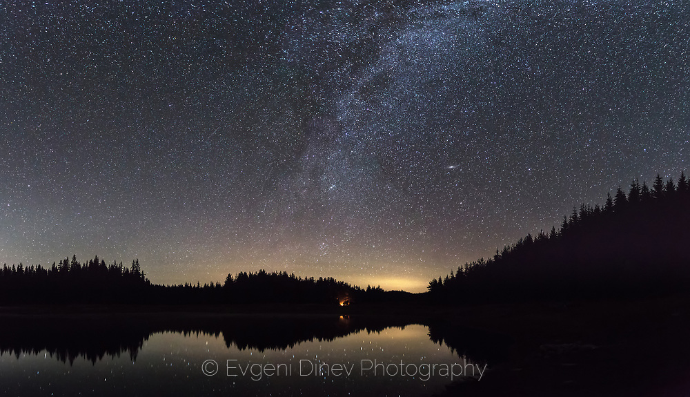 Reflections of the Milky Way in a calm lake