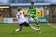 Forest Green Rovers Keanu Marsh-Brown(7) plays the ball forward during the Vanarama National League match between Forest Green Rovers and Boreham Wood at the New Lawn, Forest Green, United Kingdom on 11 February 2017. Photo by Shane Healey.