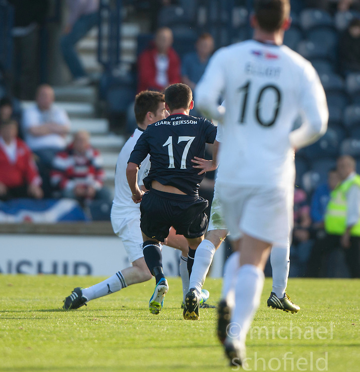 Falkirk's Kris Faulds (17) scoring their goal.<br /> Raith Rovers 1 v 1 Falkirk, Scottish Championship 28/9/2013.<br /> &copy;Michael Schofield.