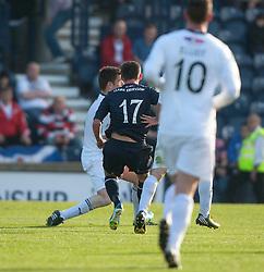 Falkirk's Kris Faulds (17) scoring their goal.<br /> Raith Rovers 1 v 1 Falkirk, Scottish Championship 28/9/2013.<br /> &copy;Michael Schofield.