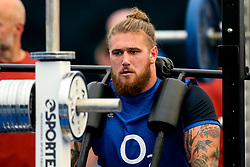 Harry Williams of England trains in the gym at Clifton College - Mandatory by-line: Robbie Stephenson/JMP - 15/07/2019 - RUGBY - England - England training session ahead of Rugby World Cup