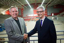 Tomaz Tom Mencinger, mayor of Jesenice and dr. Jernej Pikalo, Slovenian Minister of Education, Science, Culture and Sport at Media day during reconstruction of Arena Podmezakla for Eurobasket 2013,  on June 18, 2013 in Jesenice, Slovenia. (Photo By Vid Ponikvar / Sportida)