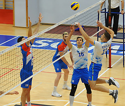 Podrascanin of Serbia, Gregor Ropret of Slovenia, Danijel Koncilija of Slovenia during friendly volleyball match between National teams of Serbia and Slovenia, on August 18, 2017, in Belgrade, Serbia. Photo by Nebojsa Parausic / MN press / Sportida