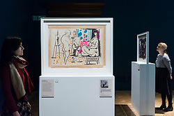 "© Licensed to London News Pictures. 21/01/2020. LONDON, UK. Staff members view (L to R) ""In the studio"", 1955, and ""Visage: Head of a Faun"", 1955, both by Pablo Picasso at the preview of ""Picasso and Paper"", an exhibition at the Royal Academy of Arts, which is the most comprehensive exhibition ever devoted to Pablo Picasso's imaginative and original uses of paper .  Over 300 works both on and with paper, are on display 25 January to 13 April 2020.  Photo credit: Stephen Chung/LNP"