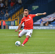 Coventry City Striker, Adam Armstrong unleashes a free kick during the Sky Bet League 1 match between Bury and Coventry City at Gigg Lane, Bury, England on 26 September 2015. Photo by Mark Pollitt.