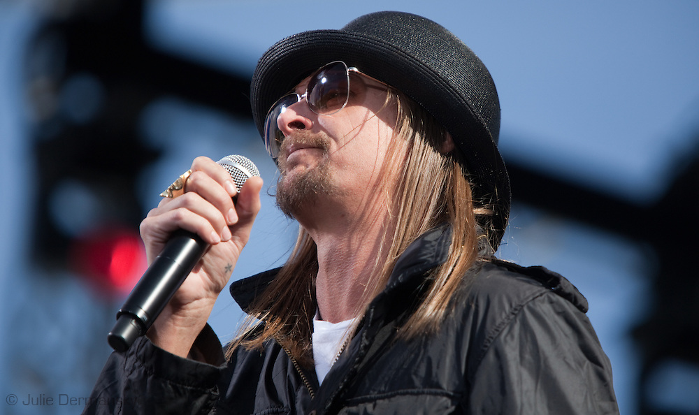 """Kid Rock performing at the """"Rally to Restore Sanity And/Or Fear"""".<br /> A crowd estimated  between 100,000- 200,000  came from across America  to the National Mall on October 30, 2010 before the midterm elections to particiapte in the """"Rally to Restore Sanity And/Or Fear"""" . Jon Stewart insists the rally was not a political event, however; the audience had messages of their own on hand made signs for the occasion, many with a political message."""