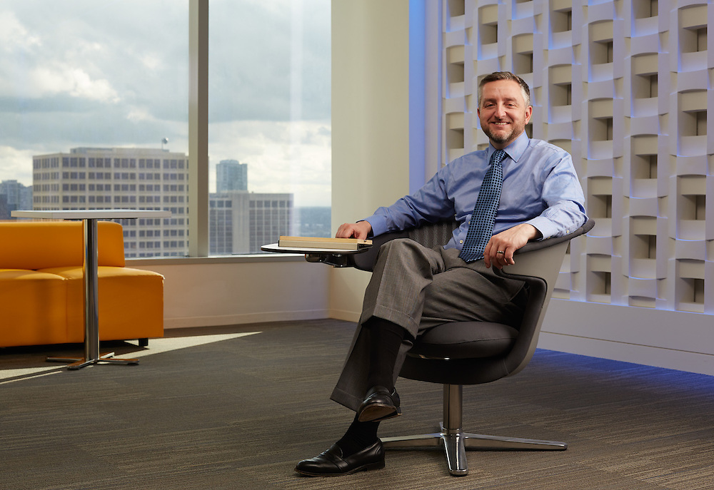 BBVA Compass director of mobility and new digital business technologies, Chad Ballard, is photographed Monday afternoon February 22, 2016 at BBVA offices in Houston, TX for American Banker magazine.<br />