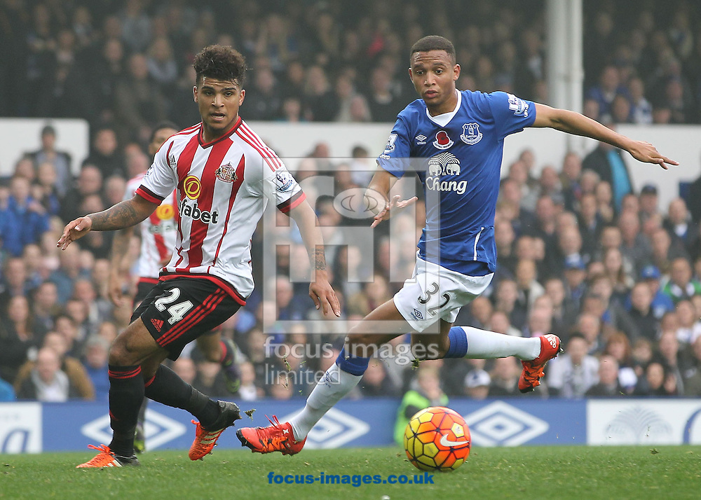 DeAndre Yedin of Sunderland and Brendan Galloway of Everton in action during the Barclays Premier League match at Goodison Park, Liverpool.<br /> Picture by Michael Sedgwick/Focus Images Ltd +44 7900 363072<br /> 01/11/2015