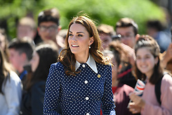 The Duchess of Cambridge arrives for a visit to Bletchley Park to view a special D-Day exhibition in the newly restored Teleprinter Building.