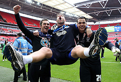 James Shea and Kelle Roos celebrate Promotion to League Two with Goalkeeper Coach Ashley Bayes - Mandatory by-line: Robbie Stephenson/JMP - 30/05/2016 - FOOTBALL - Wembley Stadium - London, England - AFC Wimbledon v Plymouth Argyle - Sky Bet League Two Play-off Final