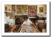 Mexican painter Manuel Miranda in his house and studio in McAllen, Texas, USA.<br /> <br /> This picture is part of my long-term project<br /> LA FRONTERA: Artists along the US Mexican Border.<br /> &copy; Stefan Falke / www.stefanfalke.com